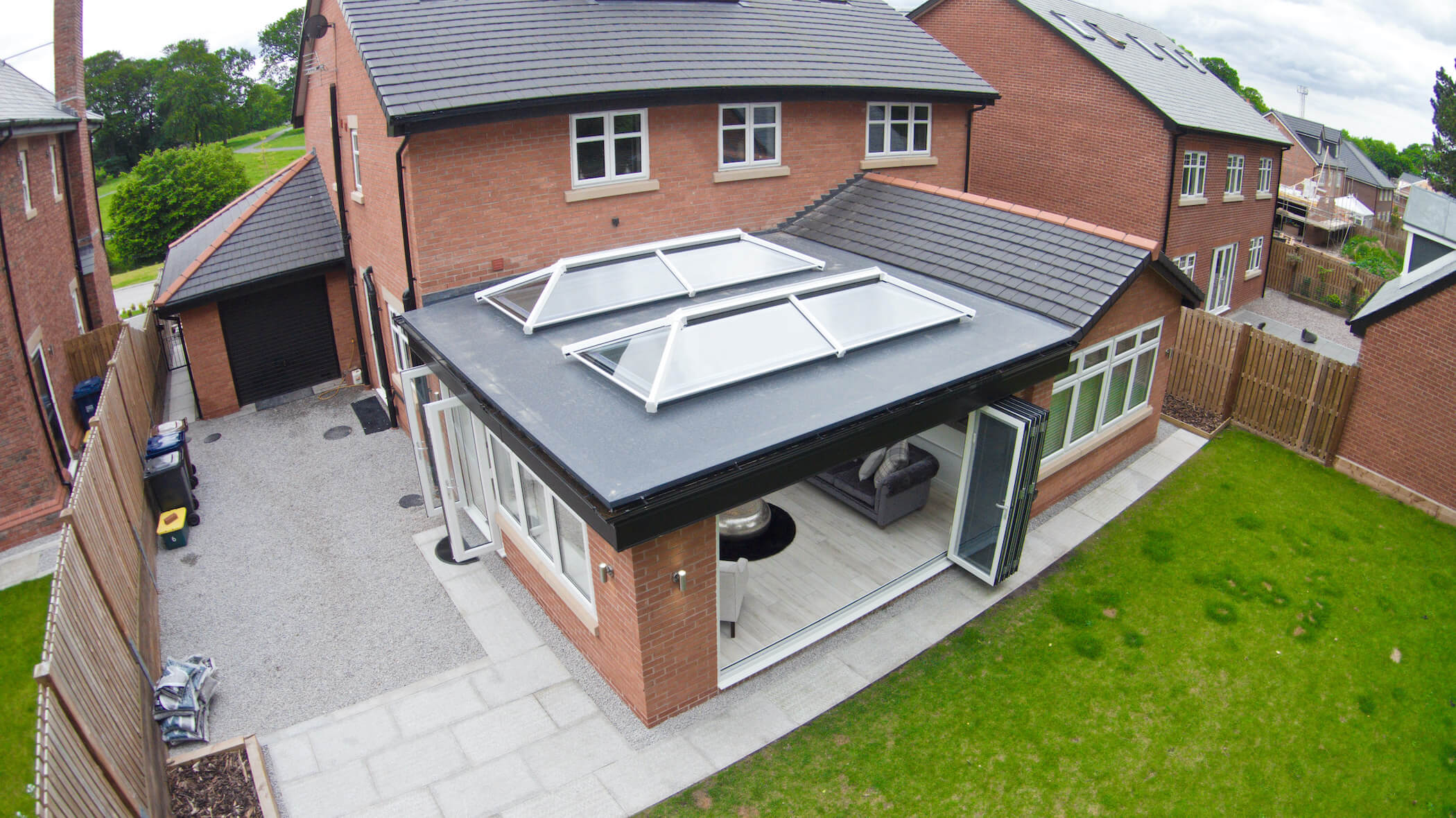 Overhead shot of house extension