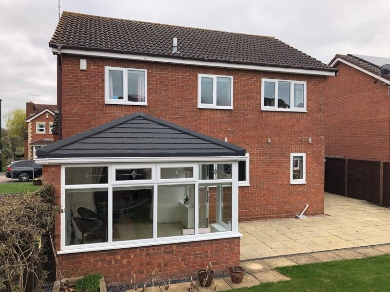 Rear view of a warm clad conservatory roof